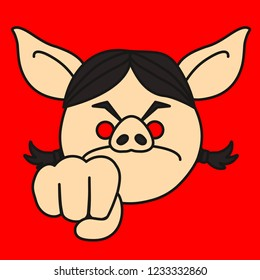 emoji with angry aggressive pig woman who shows her fist as a warning, mad female person preparing to punch someone in the face, simple hand drawn emoticon, simplistic colorful picture