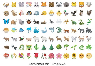 Emoji of animals and plants and nature pack set icons for apps and social media