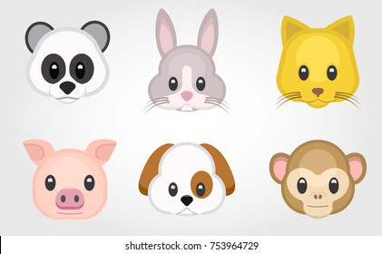 Emoji or animoji characters, flat vector illustration