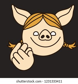 emoji with applauding smiling pig woman that claps her hands in the theatre, simple hand drawn emoticon, simplistic colorful picture, vector art with pig-like characters