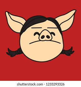 emoji with arrogant pig woman that proudly keeps her head up, simple hand drawn emoticon, simplistic colorful picture, vector art with pig-like characters
