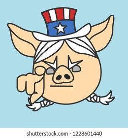 emoji with Aunt Sam pig woman pointing finger at you, female version of usa mascot Uncle Sam wants you for US army, american government or president personification in striped tophat with stars