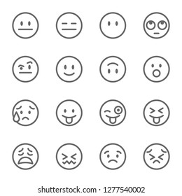 Emoji Avatar Face Vector Line Icon Set. Contains such Icons as Winking Face with Tongue, Confounded Face , Persevering Face and more. Expanded Stroke