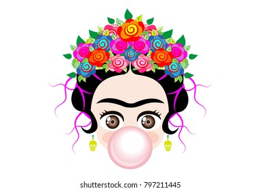 Emoji baby Frida Kahlo to cray  with crown and of colorful flowers, baby girl  with gum bubble, vector isolated