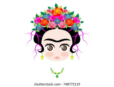 Emoji baby Frida Kahlo with crown of colorful flowers, vector isolated