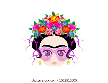 Emoji baby Frida little girl with crown of colorful flowers and glasses , vector illustration isolated