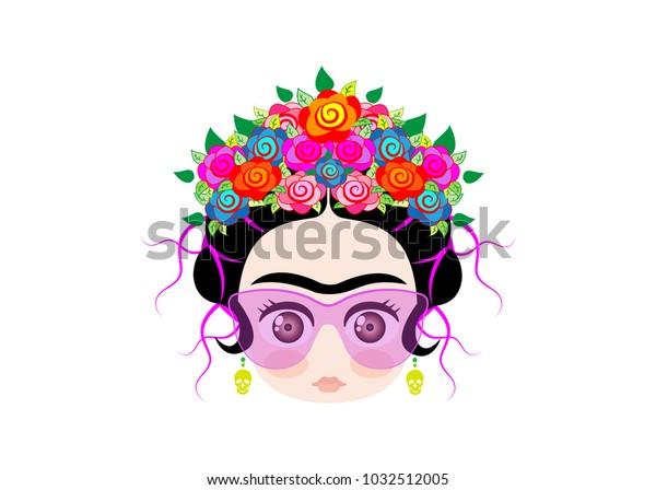 Emoji Baby Frida Little Girl Crown Stock Vector (Royalty