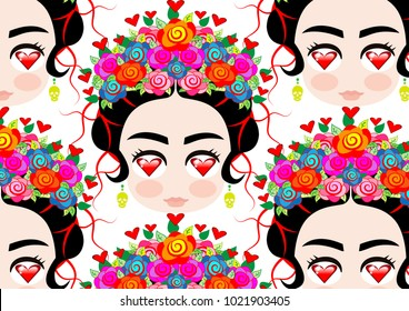 Emoji baby Mexican woman with crown of colorful flowers, typical Mexican hairstyle, little girl with eyes to heart, Background cartoon vector portrait