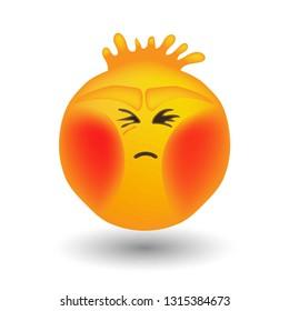 emoji blast brains with red cheeks.very high voltage