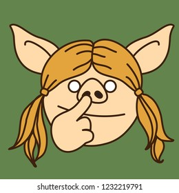 emoji with bored blonde pig gal with pigtails that is picking her nose with her finger, simple hand drawn emoticon, simplistic colorful picture, vector art with pig-like characters