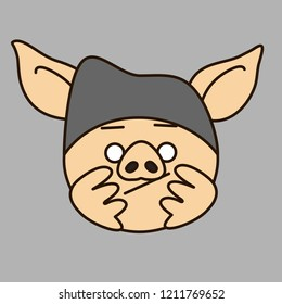 emoji with bored pig character that is wearing a knitted hat propping up his head with palms & waiting for his turn in queue or just slacking & has nothing to do, simple hand drawn emoticon