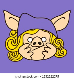 emoji with bored pig woman character who is wearing a purple knitted hat propping up her head with palms & waiting for her turn in queue or just slacking & has nothing to do, eps 10 vector clip art