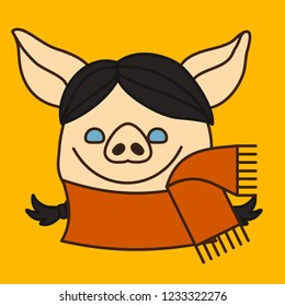 emoji with brunette pig woman with pigtails who is wearing an orange wool scarf on her neck, simple hand drawn emoticon, simplistic colorful picture, vector art with pig-like characters