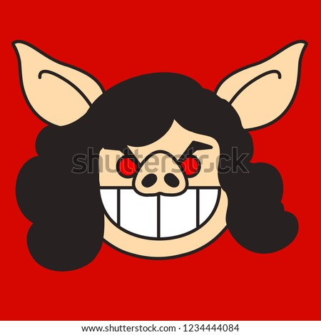 emoji brunette pig woman showing her stock vector royalty