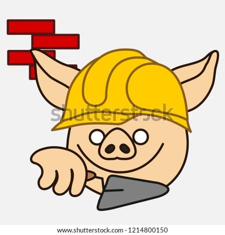 emoji builder pig that working construction stock vector royalty