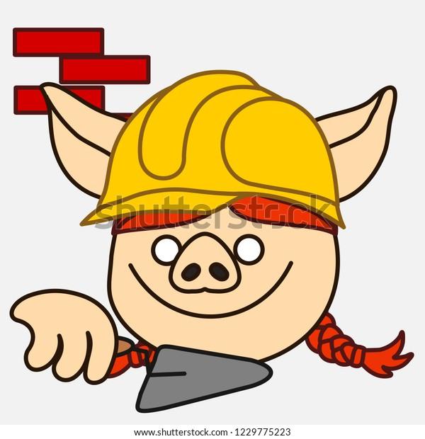 Emoji Builder Pig Woman That Working Stock Vector Royalty Free 1229775223