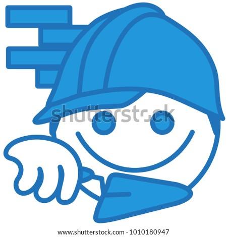 emoji builder working construction site front stock vector royalty