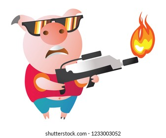 Emoji character  Pig with flamethrower. Vector illustration. Symbol of the new year 2019 Isolated on transparent background. Excellent for the design of postcards, posters, stickers etc.