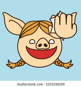 emoji with cheerful smiling pig gal that is doing a high five gesture with her palm, simple hand drawn emoticon, simplistic colorful picture, vector art with pig-like characters