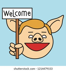 emoji with cheerful smiling stump orator pig guy that is holding a banner with welcome text, simple hand drawn emoticon, simplistic colorful picture, vector art with pig-like characters