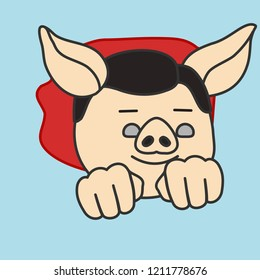 emoji with classic super hero character pig flying with waving cape, curly superhero man fly in the air by pushing fists forward and using his superpower, simple hand drawn emoticon