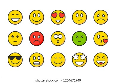 Emoji color line icons. Emoticon vector linear colorful icon set. Isolated icon collection on white background.
