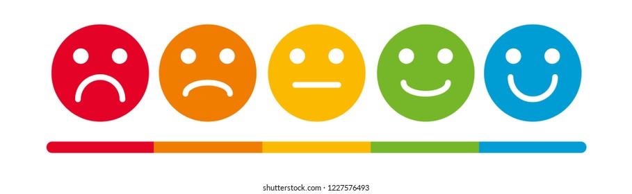 Emoji Colored Flat Icons Vector Set. Sad and Happy Mood Icons.