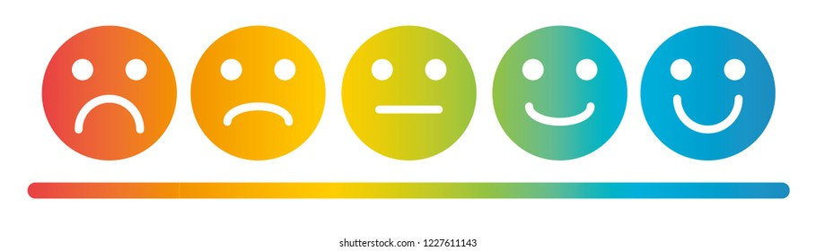 Emoji Colored Scale Flat Icons Vector Set. Sad and Happy Mood Icons.
