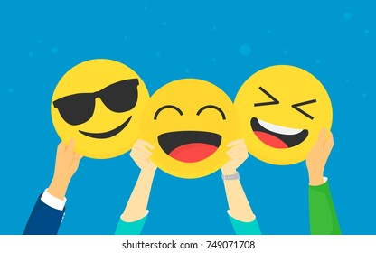 Emoji concept vector illustration happy men and women showing emoji head symbols for emotional reactions. Flat human hands hold laughing and smiling emoticons on blue background