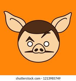 emoji with confused pig guy that is raising eyebrow with huh? expression, simple hand drawn emoticon, simplistic colorful picture, vector art with pig-like characters