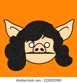 emoji with confused pig woman who is raising eyebrow with huh expression, simple hand drawn emoticon, simplistic colorful picture, vector art with pig-like characters