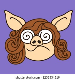 emoji with confused pig woman's face that is expressing confusion with spiral like eyes & curvy mouth, simple hand drawn emoticon, simplistic colorful picture, vector art with pig-like characters