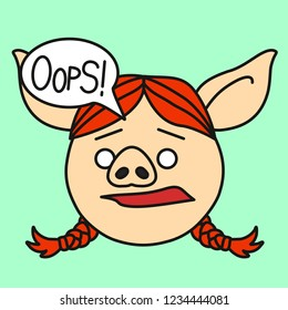emoji with confused redhead pig gal with pigtails who is saying Oops with a speech bubble, simple hand drawn emoticon, simplistic colorful picture, vector art with pig-like characters