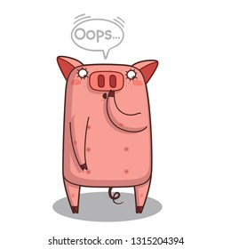 emoji with confused redhead pig guy that is saying Oops with a speech bubble