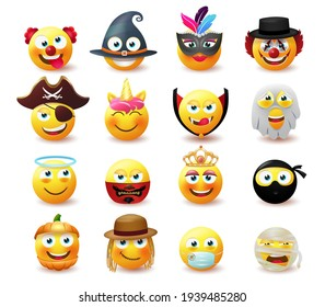 Emoji costume character vector set.  Emoji in cute and scary masquerade party design with mask emoticon characters like clown, witch and ghost for avatar collection. Vector illustration