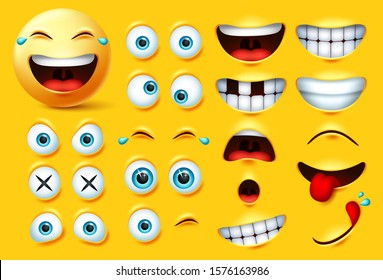 Emoji creation kit vector set. Emoticons and emojis face kit eyes and mouth in surprise, excited, hungry, and funny feelings isolated in yellow background. Vector illustration.
