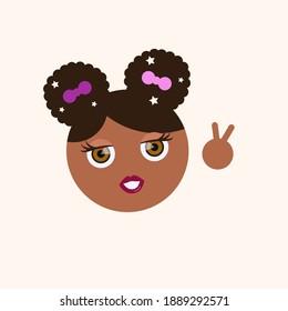 emoji of cute girl doing peace sign