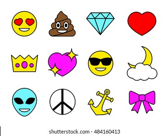 Emoji design set. Emoticon Pins or Patches, Stamps, Icons, Stickers. Vector illustration isolated on white background. Happy poop, Alien,  Love, Anchor, Diamond, Crown, Peace, Ribbon, Sun Glasses.