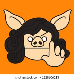 "emoji with dissatisfied frowned pig woman stopping unacceptable behavior or warning someone with raised finger, ""wait a second"" pose, simple hand drawn emoticon, simplistic colorful picture"