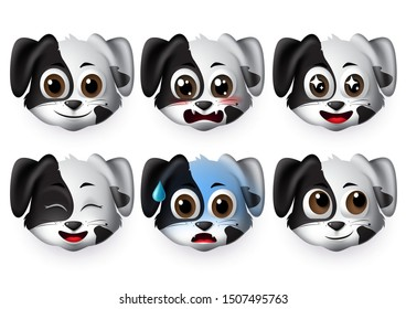 Emoji dogs vector set. Emoticons and emojis of puppy dog face in excited and scared mood and emotion isolated in white background. Vector illustration 3d realistic.