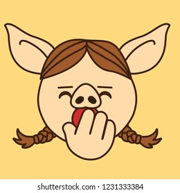 emoji with dreamy or sleepy pig woman with pigtails that is yawning with palm covering her mouth gesture, simple hand drawn emoticon, simplistic colorful picture, vector art with pig-like characters