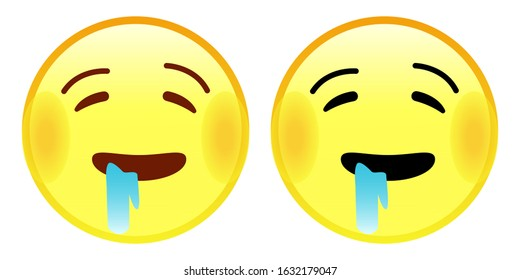 Emoji Drooling Face. A yellow face, usually shown with closed eyes and raised eyebrows, with saliva drooling from one corner of its mouth. Illustration icon vector emoticon flat design.