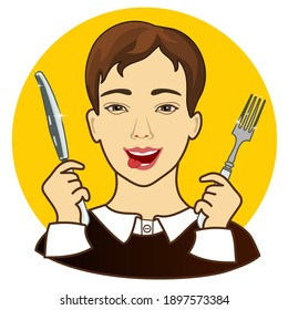 emoji with drooling hungry man that is ready to eat and sticking his tongue out with fork and knife in his hands, simple colored emoticon