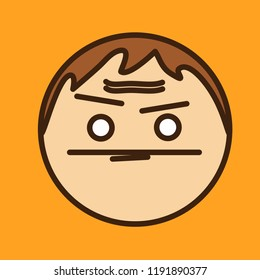 emoji with dumbfounded guy with furrowed brows & frowned confused face expressing perplexity or bewilderment, simple colored emoticon, simplistic colorful pictogram, funny cartoon character from a set