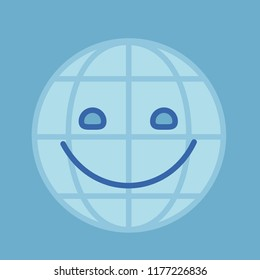 emoji with eco friendly world picture with happy smiling earth globe, simple colored emoticon, simplistic colorful pictogram, ball like personage with thick outlines, eps 10 vector illustration