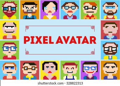 Emoji emoticon expression icons in style pixel graphics pictogram of male and fun people female faces It can be used as an avatar for profiles on social networks.