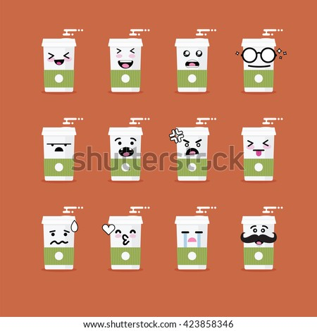 Emoji Emoticon Face Cup Coffee Variation Stock Vector Royalty Free