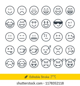 Emoji (Emoticon) Icons / Vectors Set - In Line / Stroke Design | Contains Such happy, smile, laugh, cool, cry, sad, devil, sick, grumpy, sleep, flat face, straight face, love, money, and more
