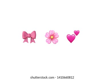 Emoji emoticon reactions color icon set : pink bow, Cherry Blossom, two hearts , vector isolated on white background