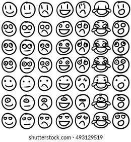 Emoji / Emoticon / Smiley Vector set. Outlines, on white background. Hand drawn, silly doodles. Vector file is grouped, ready to use!